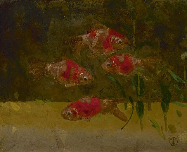 Gerrit Willem Dijsselhof | Veiltails, oil on panel, 17.6 x 21.9 cm, signed l.r. with monogram