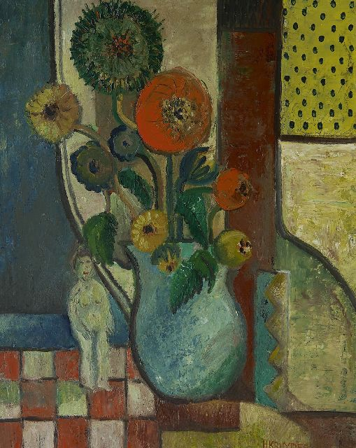 Herman Kruyder | A still life with flowers, oil on canvas, 69.0 x 54.8 cm, signed l.r. and painted ca. 1931