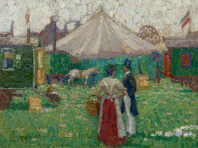 Champion T.  | At the fairground, oil on canvas laid down on board 44.6 x 58.3 cm, signed l.l. and dated 1909