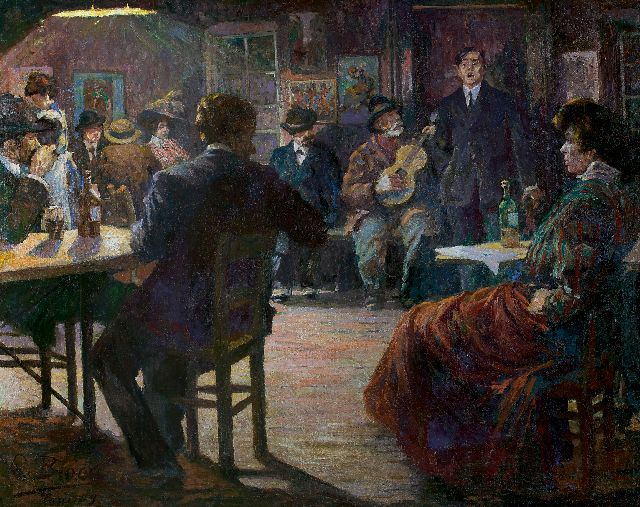 Richard Bloos | Café chantant, oil on canvas, 132.5 x 165.8 cm, signed l.l. and dated 'Paris 09'