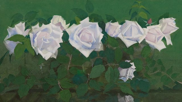 Voerman sr. J.  | 'La France'-roses in glass vases, gouache on paper 31.8 x 56.9 cm, signed l.r. and executed ca. 1891-1899