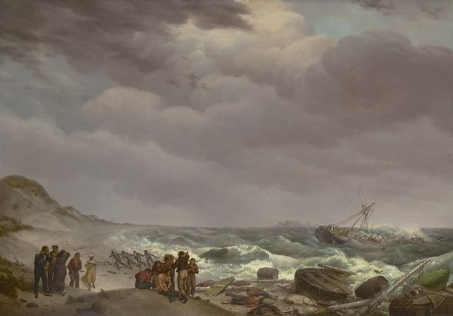 Johannes Hermanus Koekkoek | Shipwreck at the South African coast, Tsaarsbank, with the Table Mountain in the distance, oil on panel, 57.4 x 82.8 cm, signed l.r. and dated 1824 (vague)
