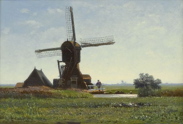 Paul Joseph Constantin Gabriel | Windmill 'De Winkel' in backlight, oil on panel, 20.3 x 30.5 cm, signed l.l.