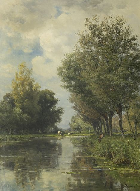 Jan Willem van Borselen | Anglers in a polder landscape, oil on canvas, 100.1 x 73.0 cm, signed l.r.