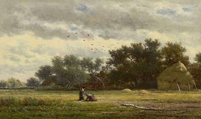 Roelofs W.  | Behind the farm, oil on panel 22.1 x 37.7 cm, signed l.r. and painted ca. 1855-1860