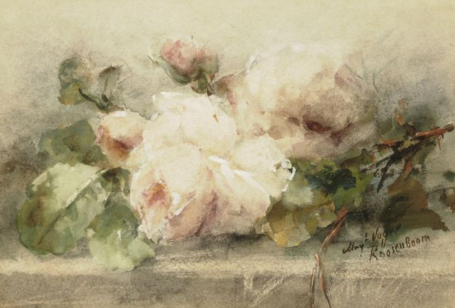 Margaretha Roosenboom | Roses on a ledge, watercolour and gouache on paper, 20.8 x 29.9 cm, signed l.r.