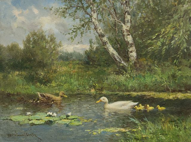 Artz C.D.L.  | Two duck families in a ditch, oil on panel 18.2 x 24.1 cm, signed l.l.