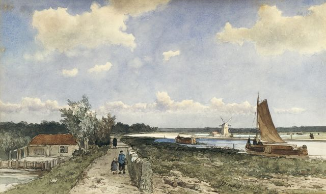 Jan Hendrik Weissenbruch | Along the 'trekvliet' near the Geestbrug, watercolour on paper, 19.9 x 33.3 cm, signed l.r.