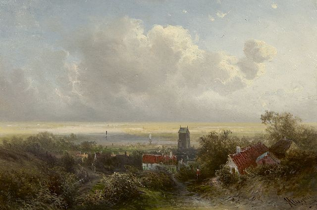 Pieter Kluyver | A view on a river valley, oil on panel, 23.7 x 36.0 cm, signed l.r.