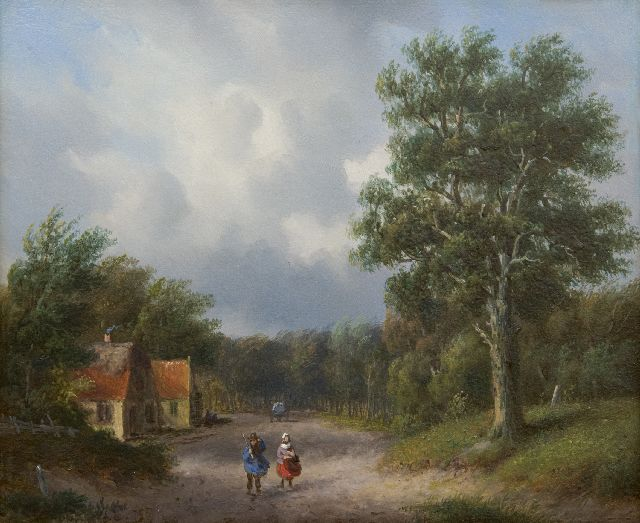 Carl Eduard Ahrendts | A wooded country road with landfolk, oil on panel, 21.7 x 25.8 cm, signed Remnants of signature