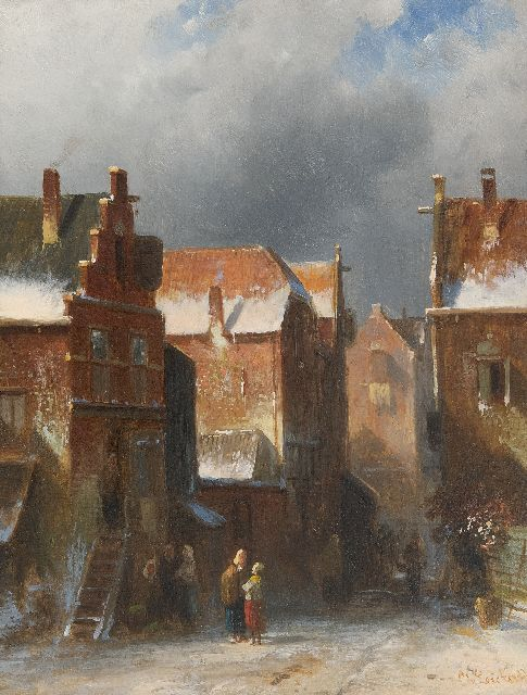 Leickert C.H.J.  | Figures in a snow-covered town, oil on panel 27.2 x 21.6 cm, signed l.r.