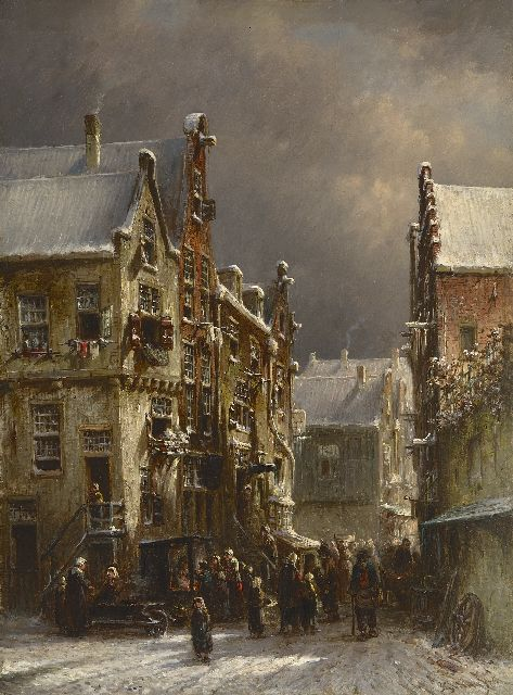 Petrus Gerardus Vertin | A busy street in winter, oil on panel, 41.5 x 30.7 cm, signed l.r. and dated '76