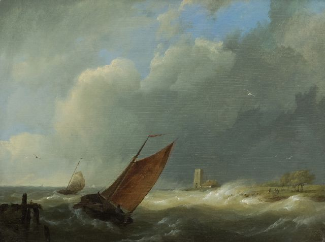 Hermanus Koekkoek | Sailing vessels in choppy coastal waters, oil on panel, 18.7 x 24.8 cm, signed l.l. with initials