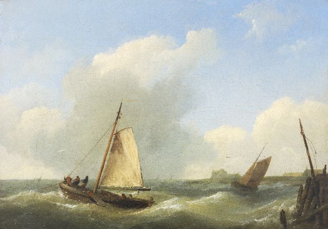 Hermanus Koekkoek | Fishing boats on a choppy sea near Vlissingen, oil on panel, 17.0 x 23.5 cm, signed l.r. with initials