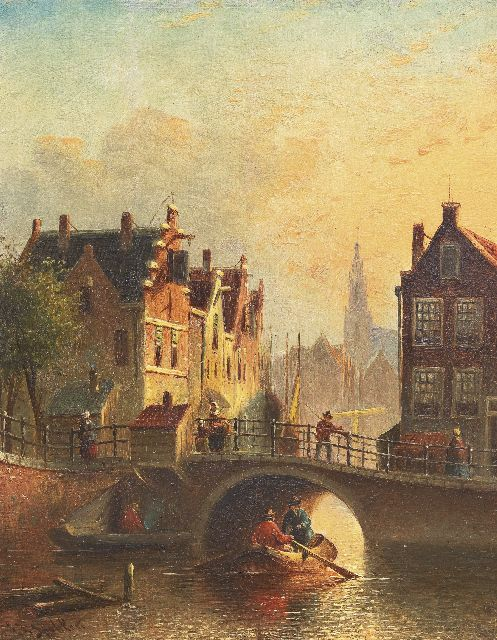 Johannes Franciscus Spohler | View of a town with a bridge and boats, oil on panel, 19.0 x 14.8 cm, signed l.l.