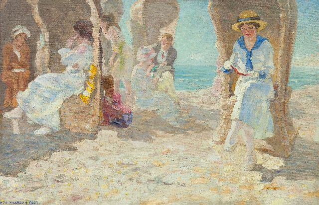 Vaarzon Morel W.F.A.I.  | A summer day on the beach, Zeeland, oil on canvas 54.6 x 84.4 cm, signed l.l.