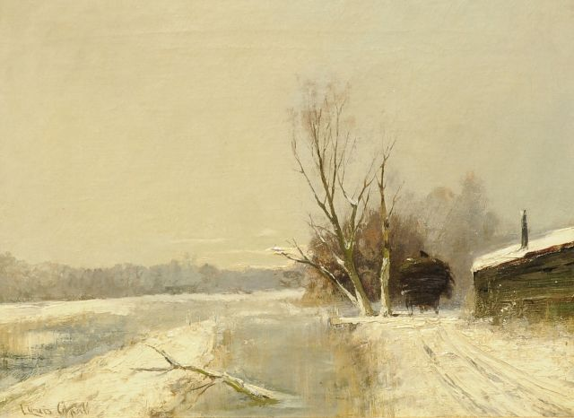 Louis Apol | Alongside the canal, in winter, oil on canvas, 30.3 x 40.3 cm, signed l.l.