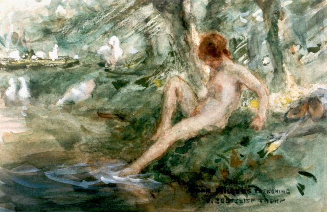 Jan Zoetelief Tromp | Bathing, watercolour on paper, 16.7 x 26.0 cm