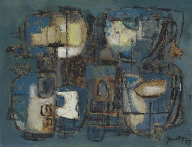 Jaap Nanninga | Composition, 1959, mixed media on paper, 30.5 x 39.3 cm, signed l.r. and dated '59