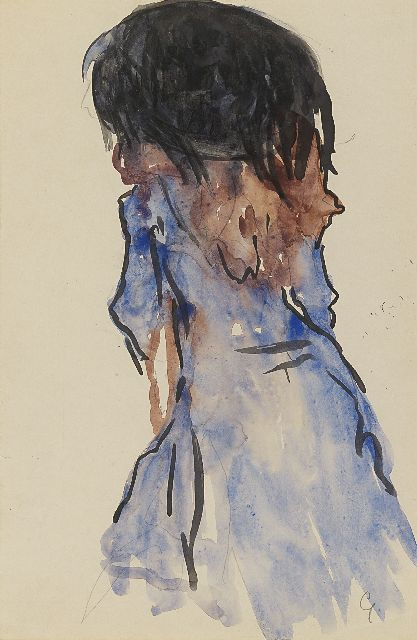 Leo Gestel | An elegant lady, seen from the back, pencil and watercolour on paper, 30.5 x 20.2 cm, signed l.r. with initial and painted circa 1908