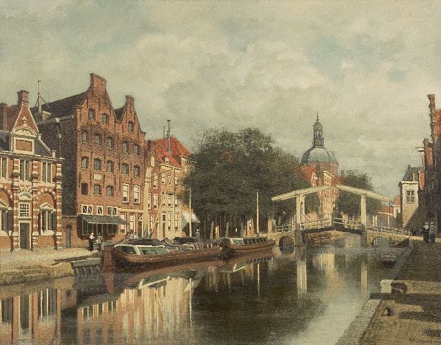 Klinkenberg J.C.K.  | A view of Leiden with the Oude Rijn and the Marekerk, oil on panel 39.3 x 51.0 cm, signed l.r.