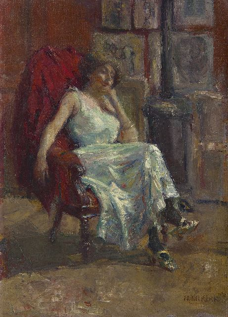 Maurits Niekerk | The model, oil on canvas, 55.1 x 40.4 cm, signed l.r.