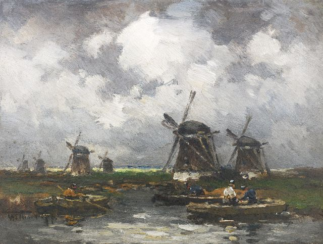Willem Rip | The windmills, oil on panel, 15.9 x 21.3 cm, signed l.l.