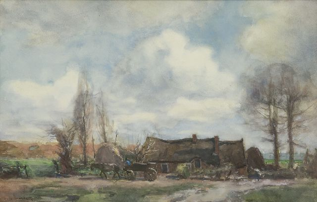 Wolter H.J.  | A farm along a country road, watercolour on paper 34.4 x 53.4 cm, signed l.l.