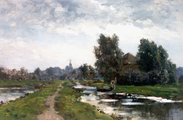 Roelofs W.  | A landscape near Gouda, oil on panel, 29.8 x 44.0 cm, signed l.r.