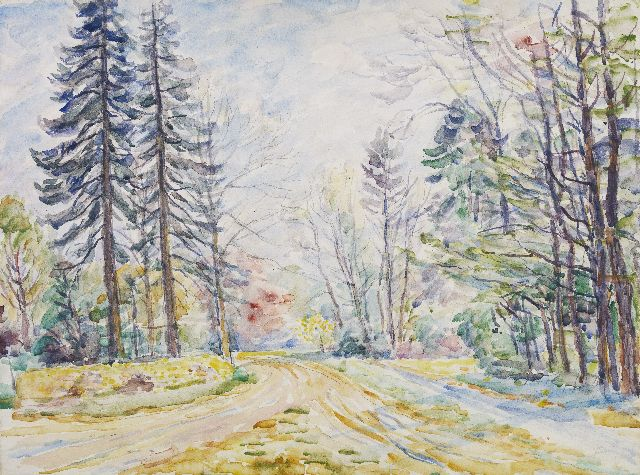 Dijkstra J.  | A country road, pencil and watercolour on paper 40.0 x 53.0 cm