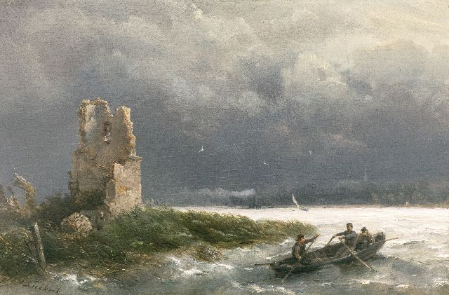 Hermanus Koekkoek | A rowing boat on a river by stormy weather, oil on panel, 14.7 x 22.1 cm, signed l.l.