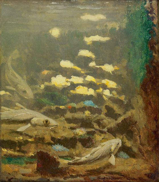 Gerrit Willem Dijsselhof | Carps and anemones, oil on canvas, 40.3 x 35.0 cm, signed l.l. with monogram