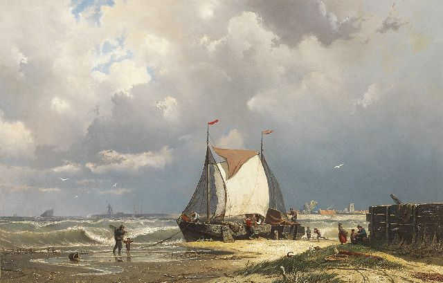 Greive J.C.  | Barges near Uitdam, the tower of Ransdorp in the distance, oil on canvas 55.8 x 85.5 cm, signed l.l.