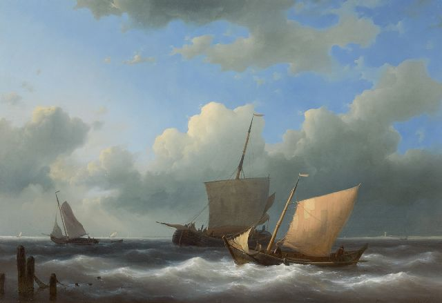 Abraham Hulk | Sailing boats entering a harbour, oil on panel, 44.5 x 62.7 cm, signed l.r. and dated 1846