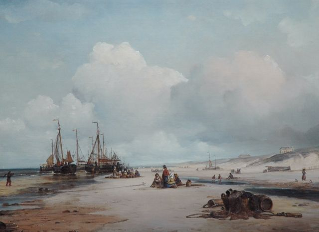 Ary Pleijsier | Unloading the catch, Scheveningen, oil on canvas, 54.7 x 75.0 cm, signed l.r. and dated 1840