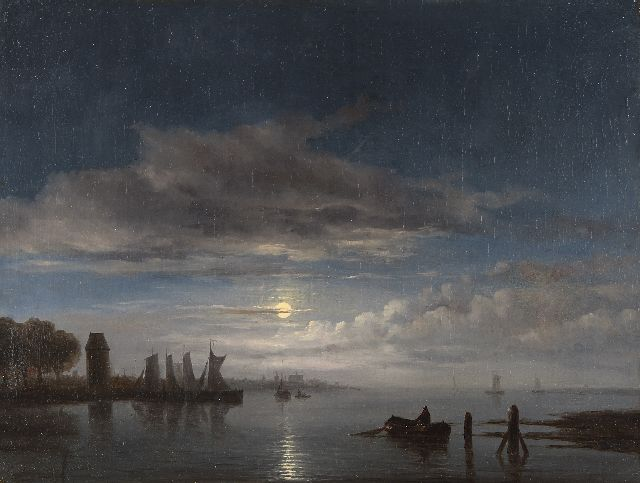 Immerzeel C.  | Moored sailing vessels by moonlight, oil on canvas 46.8 x 62.4 cm, signed l.l.