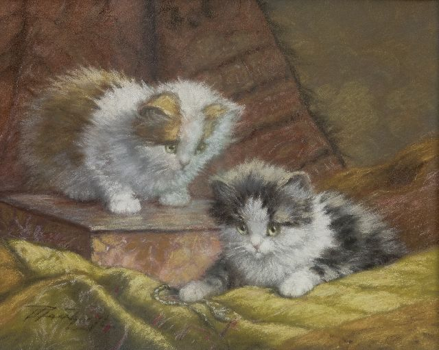 Cornelis Raaphorst | Two kittens on a cushion, pastel on paper, 25.2 x 31.0 cm, signed l.l.