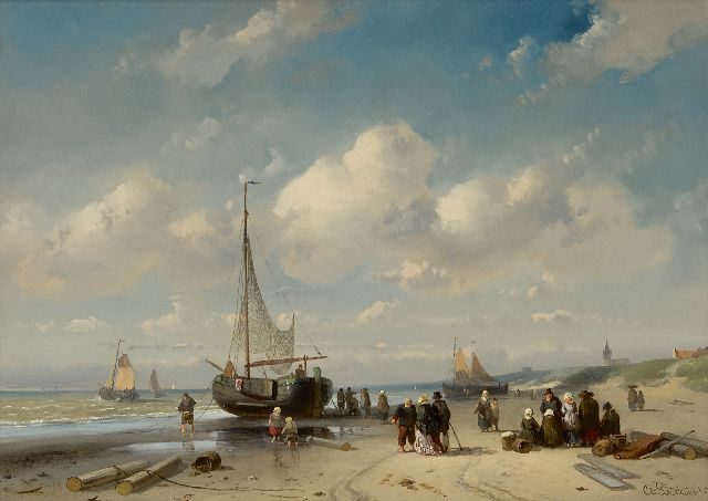 Leickert C.H.J.  | Fishermen and an elegant couple on the beach at Scheveningen, oil on panel 27.5 x 38.7 cm, signed l.r. in full and l.l. indistinctly and dated '57