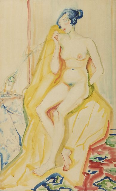 Alida Martens-Pott | Nude, watercolour on paper, 79.5 x 49.0 cm, painted ca. 1925