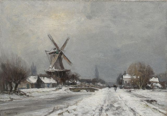 Louis Apol | A windmill in a winter landscape near Delft, oil on canvas, 42.6 x 60.3 cm, signed l.l.