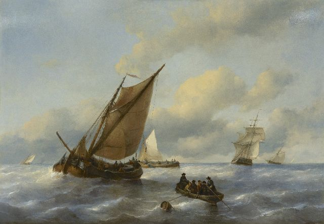 Antonie Waldorp | Sailing vessels off the coast, oil on panel, 82.4 x 117.0 cm, signed on the rowing boat