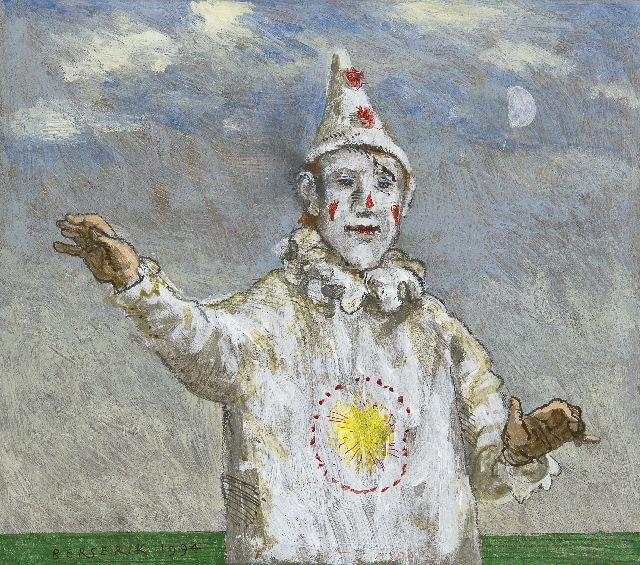Berserik H.  | White clown, pencil, pen and acrylic on panel 19.6 x 22.4 cm, signed l.l. and dated 1994