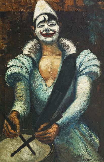 Wiegman M.J.M.  | Pierrot, oil on canvas 91.8 x 61.3 cm, signed l.r.