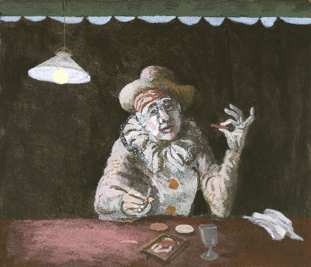 Berserik H.  | Comedia dell'Arte, acrylic on board 19.0 x 23.5 cm, signed u.r. and dated '92