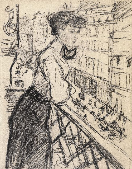 Isaac Israels | Lady on an balcony, Paris, black chalk on paper, 30.2 x 23.6 cm