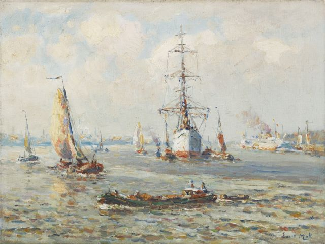Evert Moll | A three-master on the Nieuwe Maas near Rotterdam, oil on canvas, 30.1 x 40.2 cm, signed l.r.