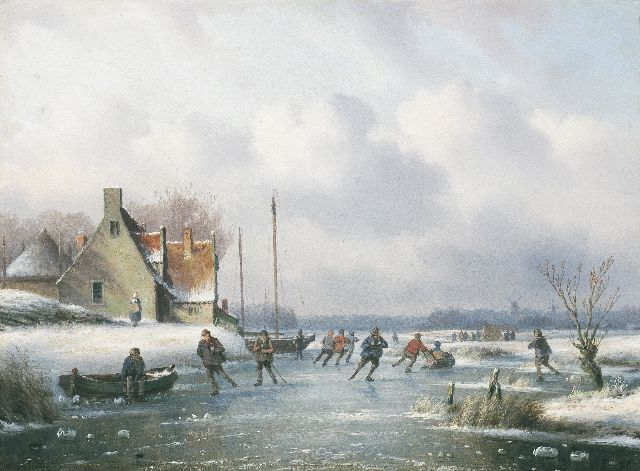 Carl Eduard Ahrendts | Winter landscape with skaters, oil on panel, 26.4 x 36.3 cm