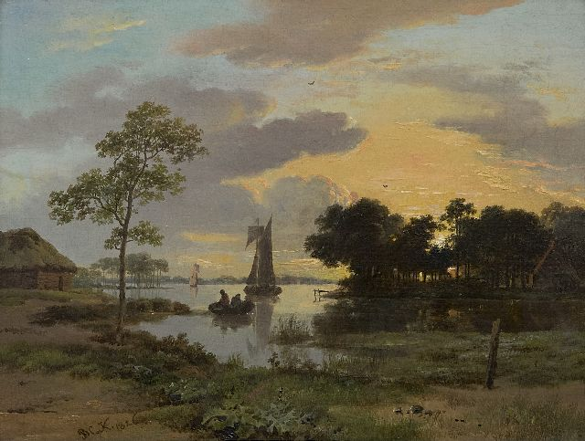 Koekkoek B.C.  | A riverscape at sunset, oil on panel 17.4 x 23.3 cm, signed l.l. with initials and painted 1826