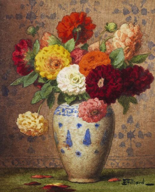 Ernest Filliard | Vase with dahlias, watercolour on paper, 16.5 x 13.5 cm, signed l.r.