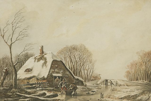 Andreas Schelfhout | Loading the pushing sledge, ink and watercolour on paper, 19.5 x 27.8 cm, signed l.l. and painted ca. 1810-1815